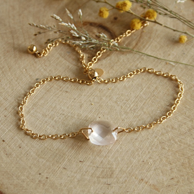 Bracelet en Gold Filled et Quartz rose